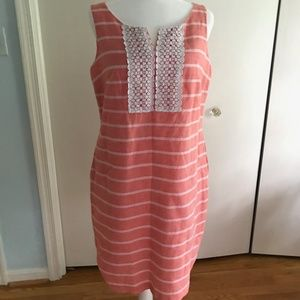 Talbots Size 10 Sleeveless Peach Shift Dress